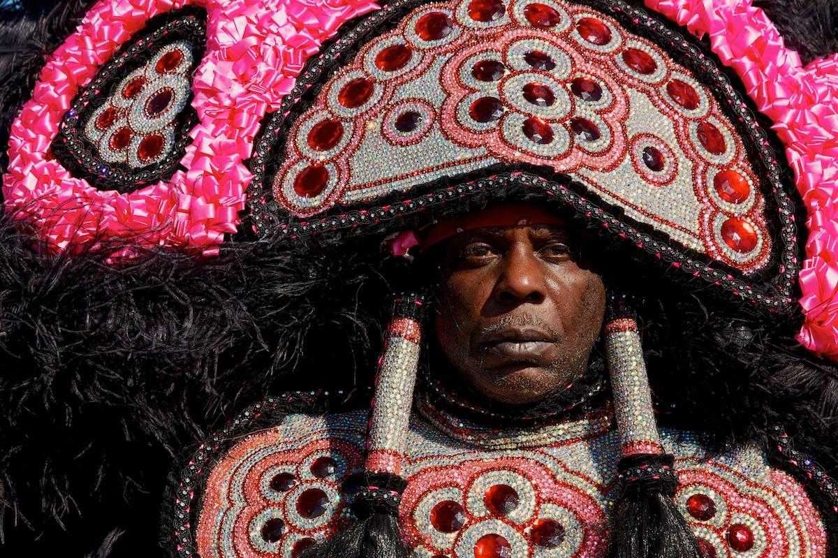 Mardi Gras indian face time