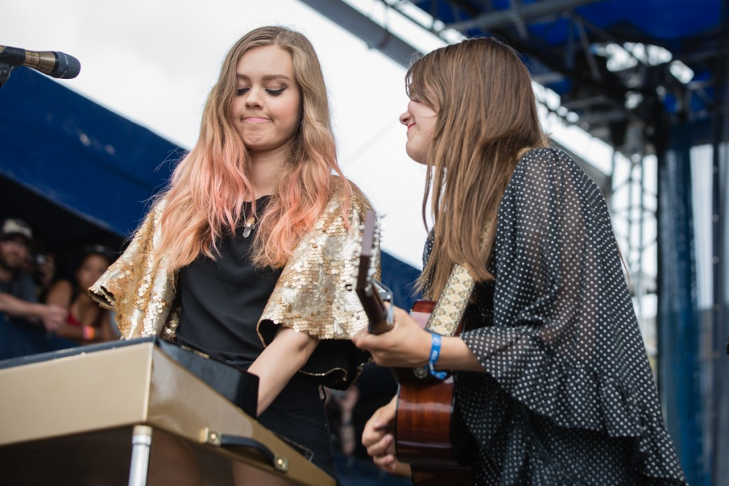First Aid Kit's Soderberg sisters sharing a moment