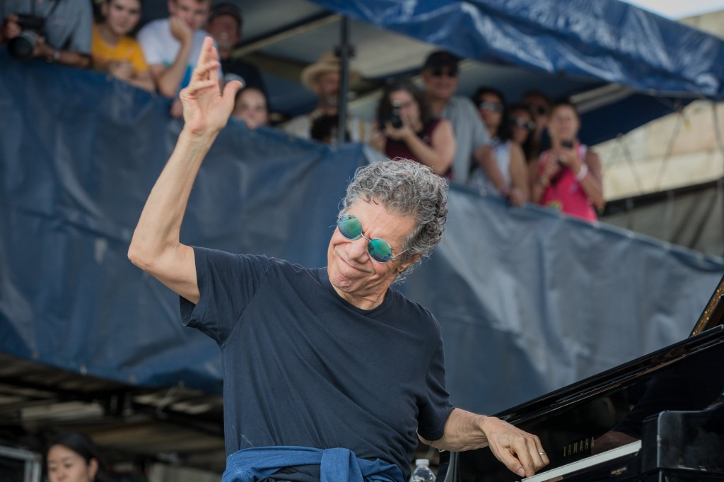 Chick Corea engages the Fort Stage crowd at the start of a brilliant set with Christian McBride and Brian Blade