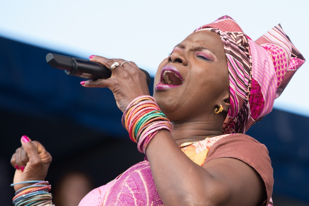 The buoyant Angelique Kidjo closing on Sunday